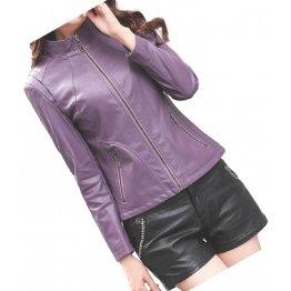 Womens New Fashion Real Sheepskin Purple Leather Jacket Coat