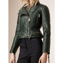 Womens Peplum Waist Lambskin Green Leather Biker Jacket