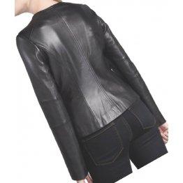Womens Simple Look Collarless Real Goatskin Black Leather Jacket Coat