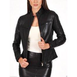Womens Smart Look Genuine Goatskin Black Leather Jacket