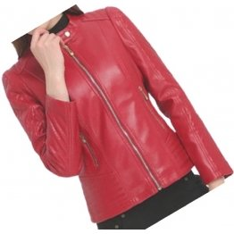 Womens Trendy  Real Sheepskin Red Leather Jacket Coat