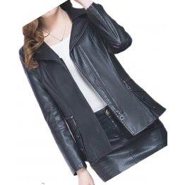 Womens Unique Fashion Real Goatskin Black Leather Jacket Coat