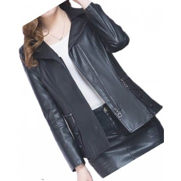 Womens Unique Fashion Real Goatskin Black Leather Jacket Coat