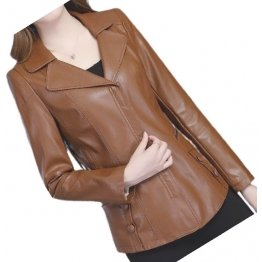 Womens Unique Fashion Real Goatskin Brown Leather Jacket Coat