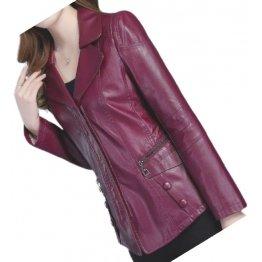 Womens Unique Fashion Real Goatskin Purple Leather Jacket Coat