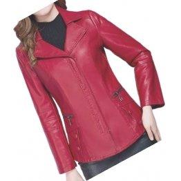 Womens Unique Fashion Real Goatskin Red Leather Jacket Coat