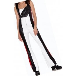 Womens Glamorous Wear Original Sheepskin White Red and black Leather Jumpsuit