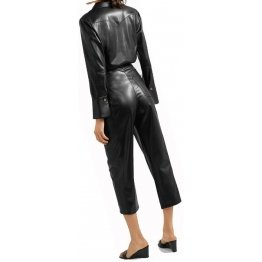 Womens Sophisticated Original Sheepskin Black Leather Jumpsuit