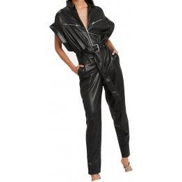 Womens Trendsetting Real Sheepskin Black Leather Jumpsuit