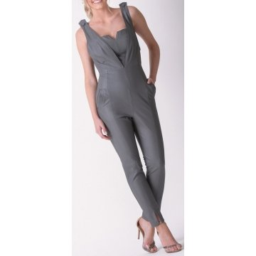 Womens Amazing Look Real Sheepskin Gray Leather Jumpsuit