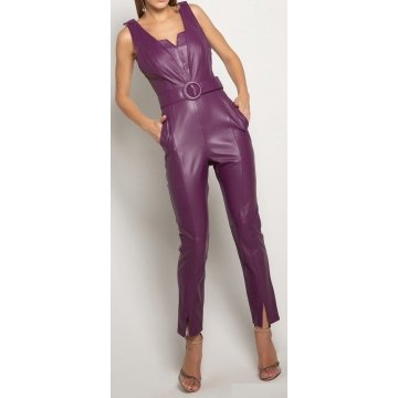 Womens Amazing Look Real Sheepskin Purple Leather Jumpsuit