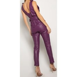 Womens Amazing Look Real Sheepskin Purple Leather Jumpsuit