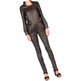 Womens Asymmetric Zipper Original Sheepskin Brown Leather Jumpsuit
