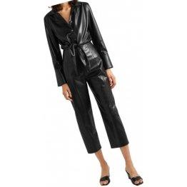 Womens Bold Fashion Original Sheepskin Black Leather Jumpsuit