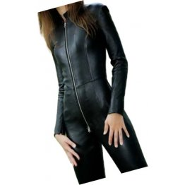 Womens City Wear Original Sheepskin Black Leather Jumpsuit