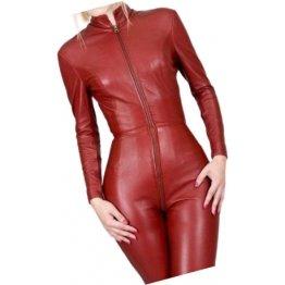 Womens City Wear Original Sheepskin Cherry Red Leather Jumpsuit