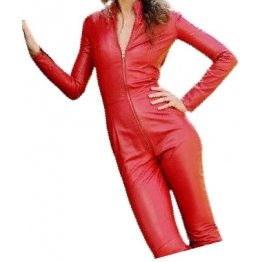 Womens City Wear Original Sheepskin Red Leather Jumpsuit