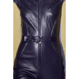 Womens Classic Real Sheepskin Navy Blue Leather Jumpsuit