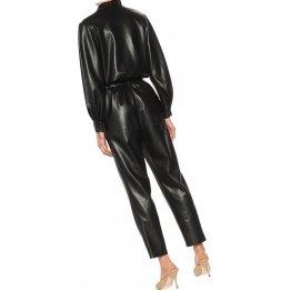 Womens Corporate Wear Original Sheepskin Black Leather Jumpsuit