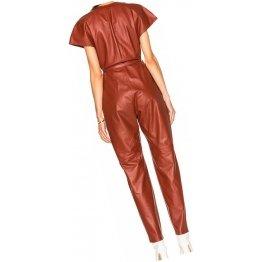 Womens Dashing Look Original Sheepskin Tan Leather Jumpsuit