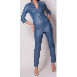 Womens Edgy Fashion Original Sheepskin Blue Leather Jumpsuit
