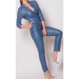 Womens Edgy Fashion Original Sheepskin Blue Leather Jumpsuit