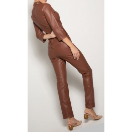 Womens Edgy Fashion Original Sheepskin Brown Leather Jumpsuit