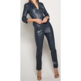 Womens Edgy Fashion Original Sheepskin Navy Blue Leather Jumpsuit