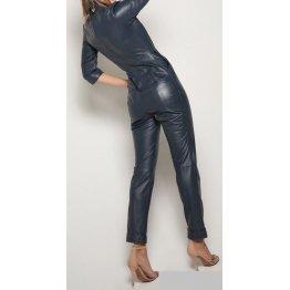 Womens Edgy Fashion Original Sheepskin Navy Blue Leather Jumpsuit