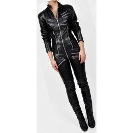 Womens Elegant Original Sheepskin Black Leather Jumpsuit