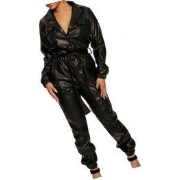 Womens Elegant Street Wear Original Sheepskin Black Leather Jumpsuit