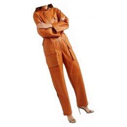 Womens Elegant Style Real Sheepskin Tan Leather Jumpsuit