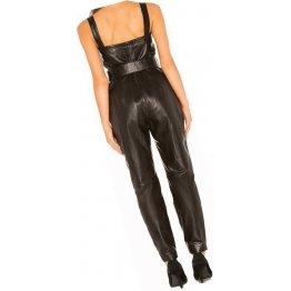 Womens Exclusive Fashion Original Sheepskin Black Leather Jumpsuit