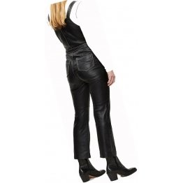 Womens Eye Catching Real Sheepskin Black Leather Jumpsuit