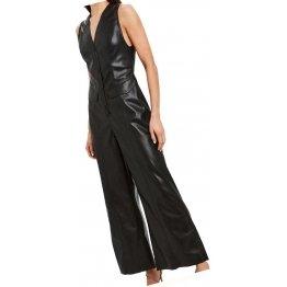 Womens Fabulous Real Sheepskin Black Leather Jumpsuit