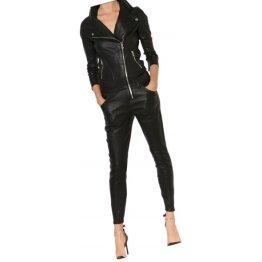 Womens Fabulous Asymmetric Zipper Real Sheepskin Black Leather Jumpsuit