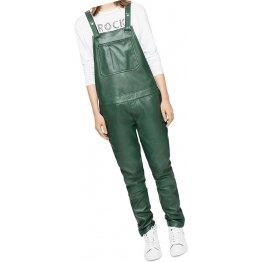 Womens Fantastic Pure Sheepskin Green Leather Jumpsuit