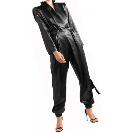Womens Fashionable Double Breasted Real Sheepskin Black Leather Jumpsuit