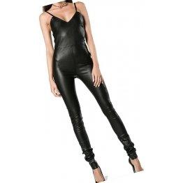 Womens Fashionable Pure Sheepskin Black Leather Jumpsuit