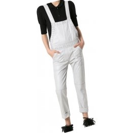 Womens Finely Crafted Original Sheepskin White Leather Jumpsuit