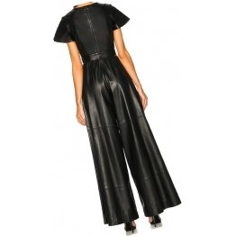 Womens Glamorous Original Sheepskin Black Leather Jumpsuit