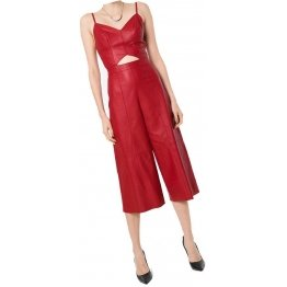 Womens Glamorous Style Real Sheepskin Red Leather Jumpsuit