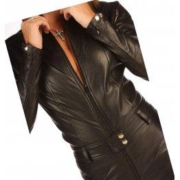 Womens High Fashion Real Sheepskin Black Leather Jumpsuit