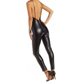 Womens Hot Look Original Sheepskin Black Leather Jumpsuit