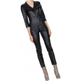Womens Impressive Style Original Sheepskin Black Leather Jumpsuit