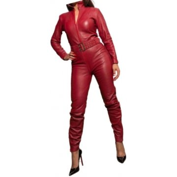 Womens Luxury Fashion Original Sheepskin Cherry Red Leather Jumpsuit