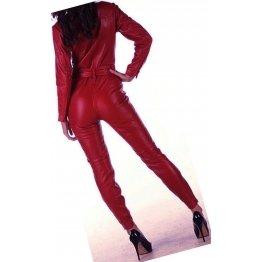 Womens Luxury Fashion Original Sheepskin Cherry Red Leather Jumpsuit