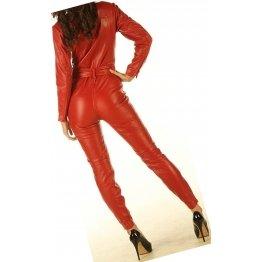 Womens Luxury Fashion Original Sheepskin Red Leather Jumpsuit