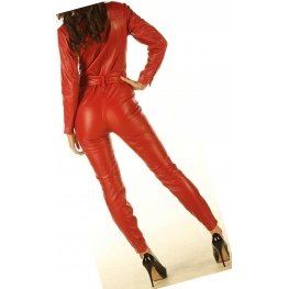 Womens Luxury Fashion Original Sheepskin Red Leather Jumpsuit