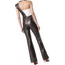 Womens One Shoulder Original Sheepskin Black And White Leather Jumpsuit